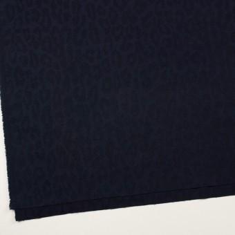 コットン&ポリウレタン×レオパード(ネイビー)×ジャガード・ストレッチ サムネイル2
