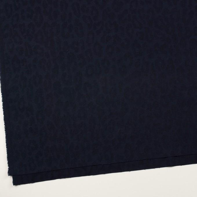 コットン&ポリウレタン×レオパード(ネイビー)×ジャガード・ストレッチ イメージ2