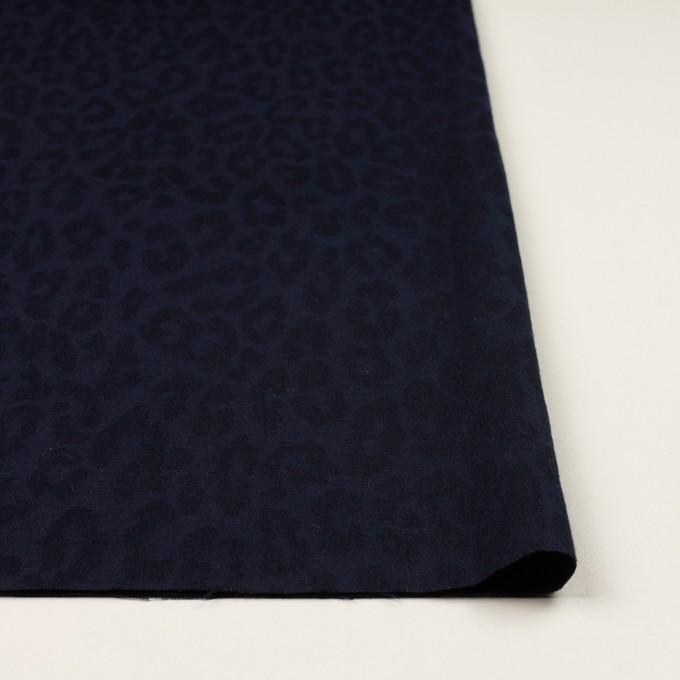 コットン&ポリウレタン×レオパード(ネイビー)×ジャガード・ストレッチ イメージ3