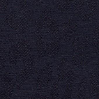 コットン&ポリウレタン×レオパード(ネイビー)×ジャガード・ストレッチ