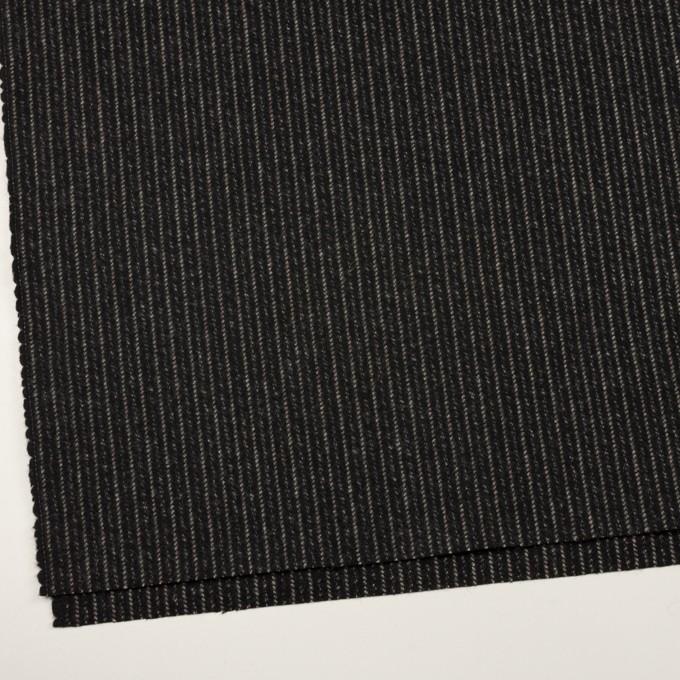ウール×ストライプ(ブラック&アイボリー)×メルトン イメージ2