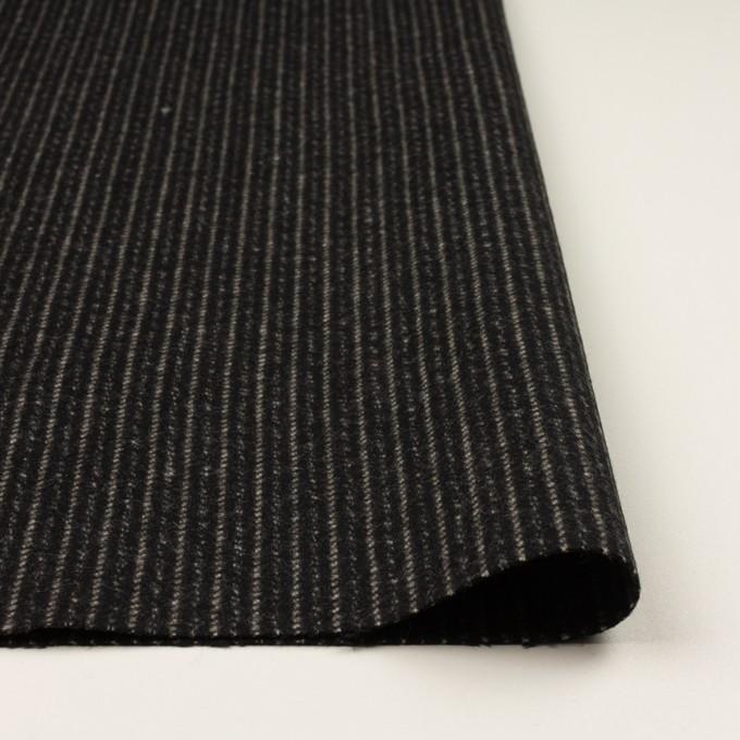 ウール×ストライプ(ブラック&アイボリー)×メルトン イメージ3