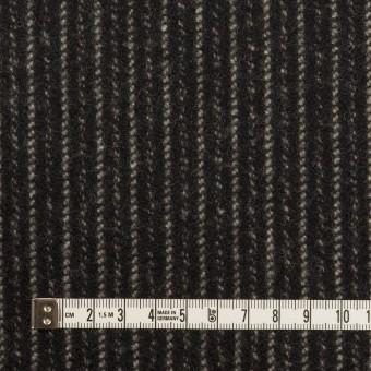 ウール×ストライプ(ブラック&アイボリー)×メルトン サムネイル4