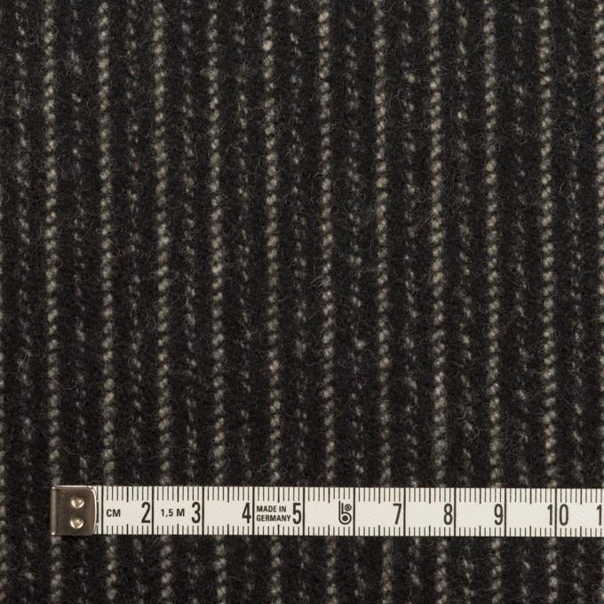 ウール×ストライプ(ブラック&アイボリー)×メルトン イメージ4