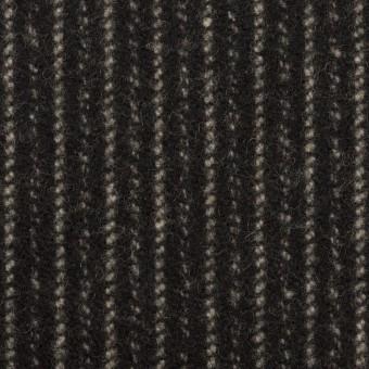 【120cmカット】ウール×ストライプ(ブラック&アイボリー)×メルトン