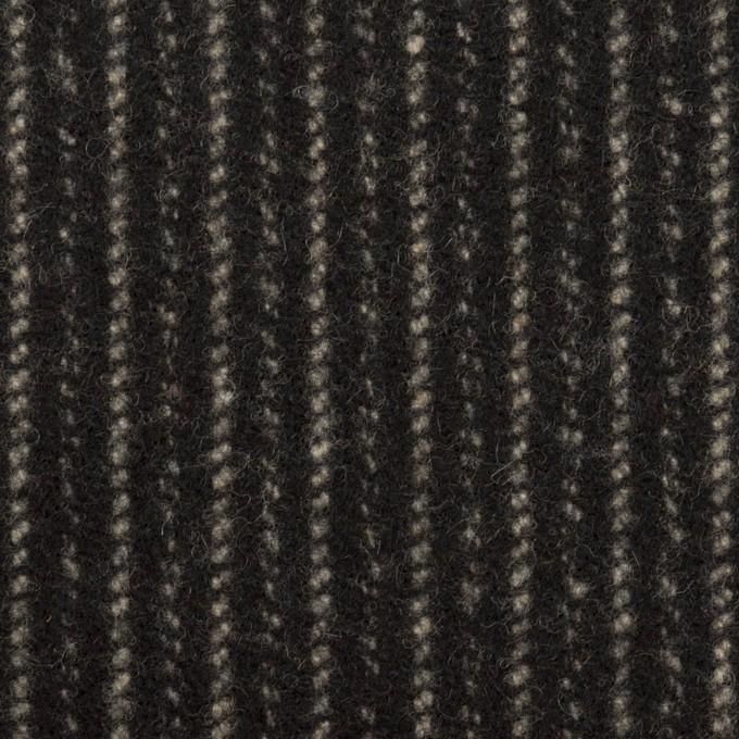 ウール×ストライプ(ブラック&アイボリー)×メルトン イメージ1