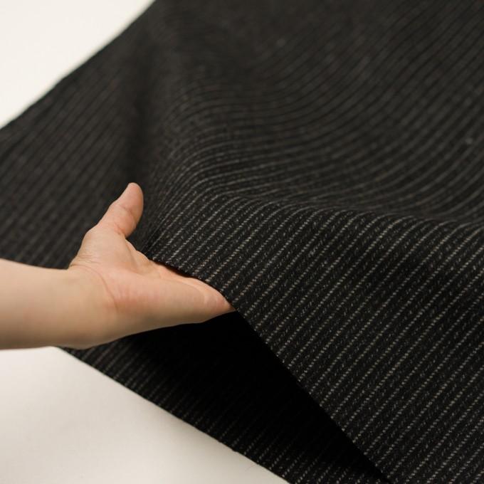 ウール×ストライプ(ブラック&アイボリー)×メルトン イメージ5