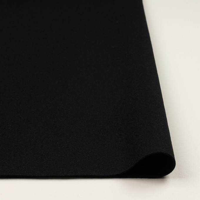 ウール×無地(ブラック)×ソフトメルトン イメージ3