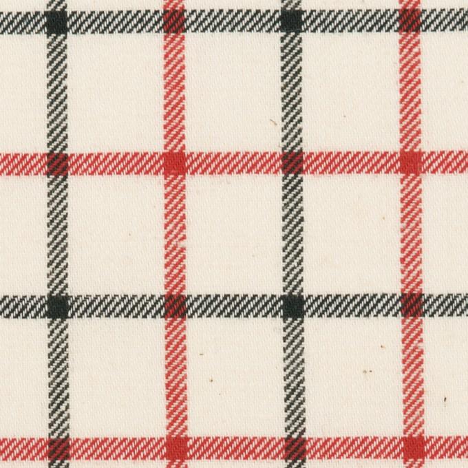 コットン×チェック(エクリュ、レッド&ブラック)×ビエラ イメージ1