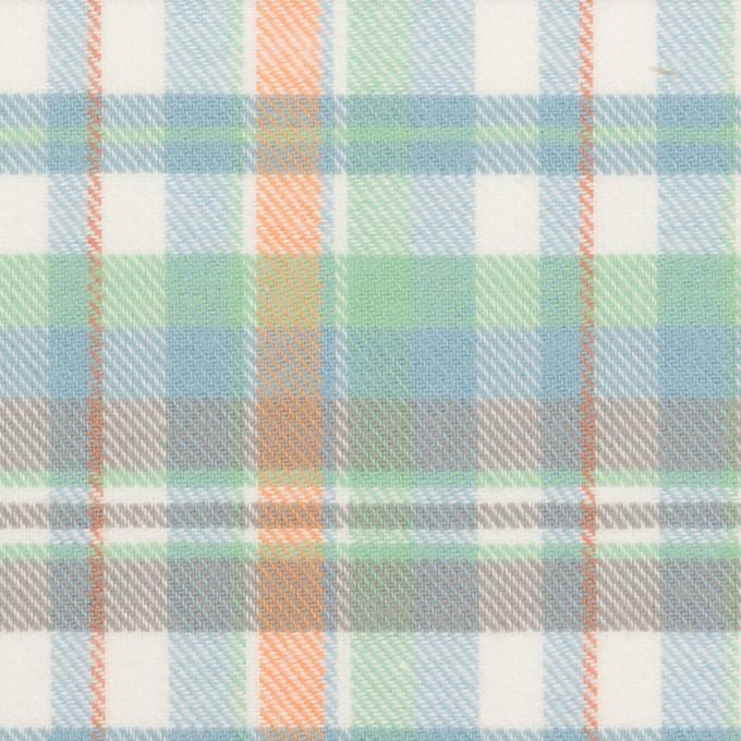 コットン×チェック(スカイブルー、ミント&オレンジ)×ビエラ イメージ1