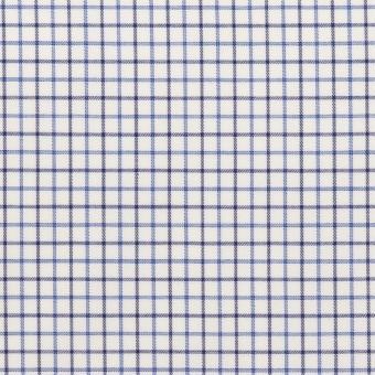 コットン×チェック(ブルー&チャコール)×ブロード