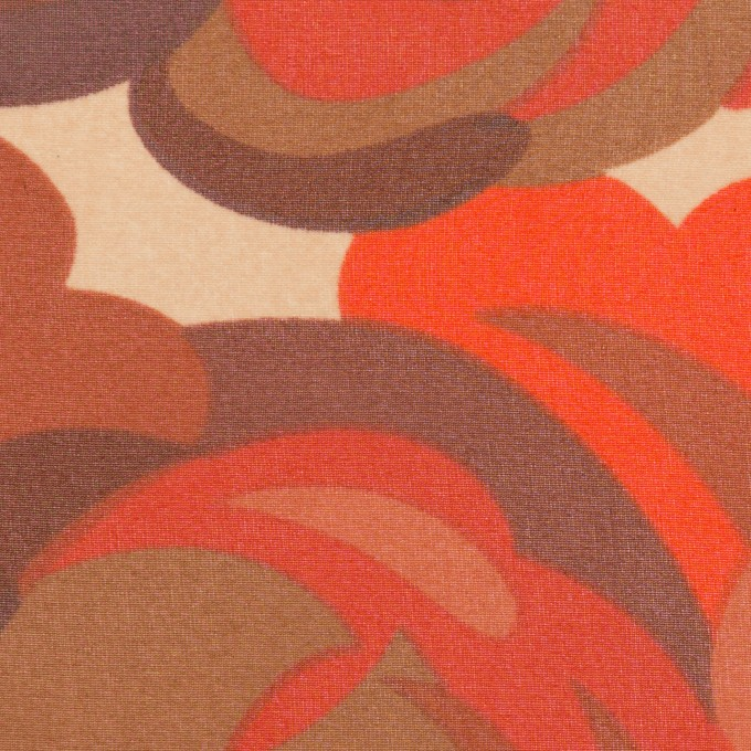 ポリエステル×幾何学模様(レッド&モカブラウン)×ジョーゼット イメージ1