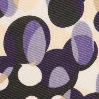 ポリエステル×幾何学模様(パープル&チャコール)×サージ