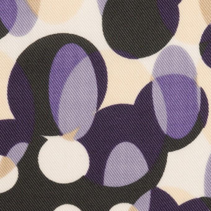 ポリエステル×幾何学模様(パープル&チャコール)×サージ イメージ1