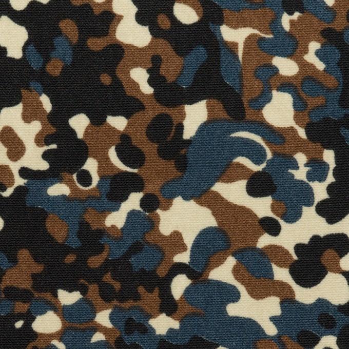ポリエステル×ペイント(ブラウン&インクブルー)×デシン_全2色 イメージ1