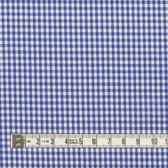コットン&ポリウレタン×チェック(オリエンタルブルー)×ローンストレッチ サムネイル4
