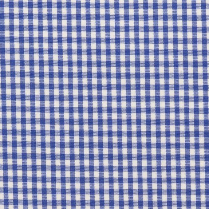 コットン&ポリウレタン×チェック(オリエンタルブルー)×ローンストレッチ イメージ1