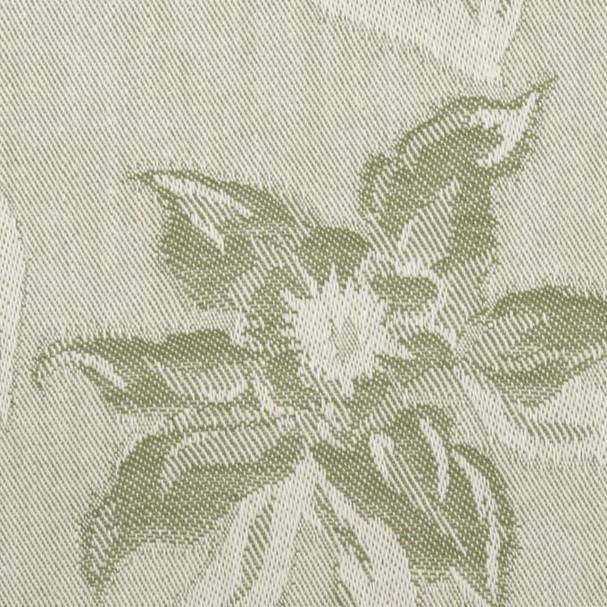 コットン×フラワー(カーキグリーン)×ジャガード イメージ1
