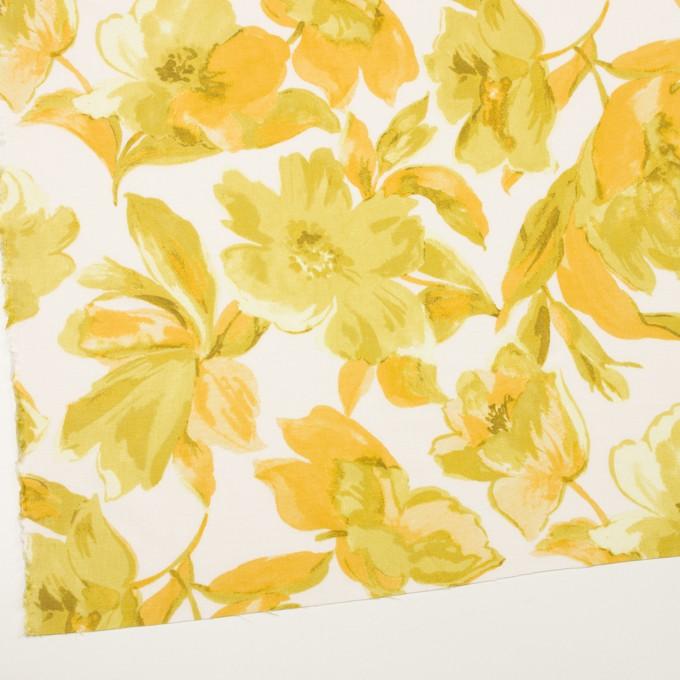 レーヨン&リネン×フラワー(イエロー&オフホワイト)×薄キャンバス_全5色 イメージ2
