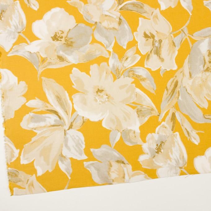 レーヨン&リネン×フラワー(カーキグレー&マスタード)×薄キャンバス_全5色 イメージ2