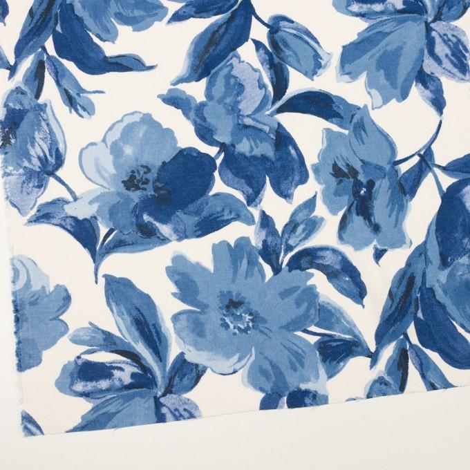 レーヨン&リネン×フラワー(ブルー&オフホワイト)×薄キャンバス_全5色 イメージ2