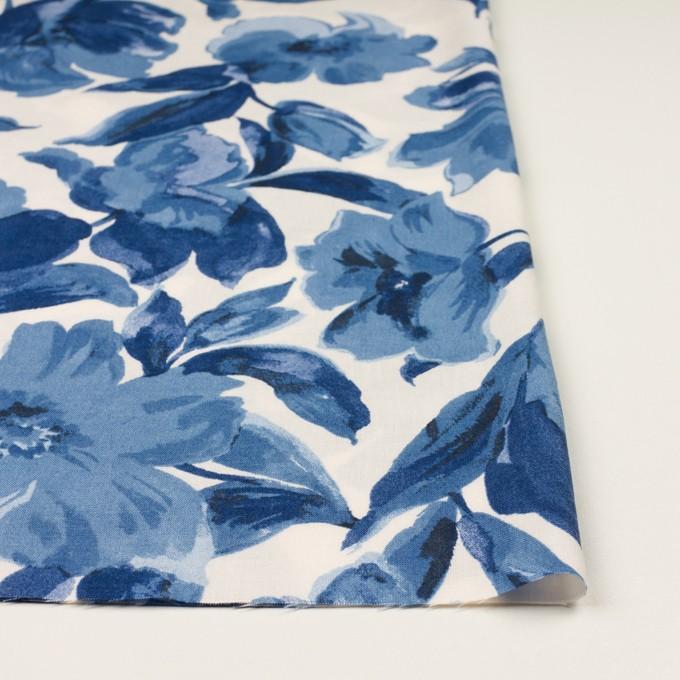 レーヨン&リネン×フラワー(ブルー&オフホワイト)×薄キャンバス_全5色 イメージ3