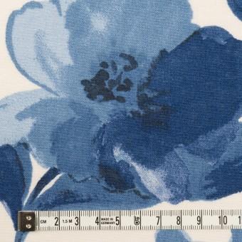 レーヨン&リネン×フラワー(ブルー&オフホワイト)×薄キャンバス_全5色 サムネイル4