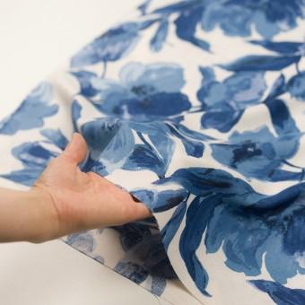 レーヨン&リネン×フラワー(ブルー&オフホワイト)×薄キャンバス_全5色 サムネイル5