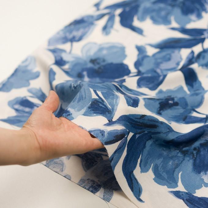 レーヨン&リネン×フラワー(ブルー&オフホワイト)×薄キャンバス_全5色 イメージ5