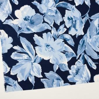 レーヨン&リネン×フラワー(ブルー&ネイビー)×薄キャンバス_全5色 サムネイル2