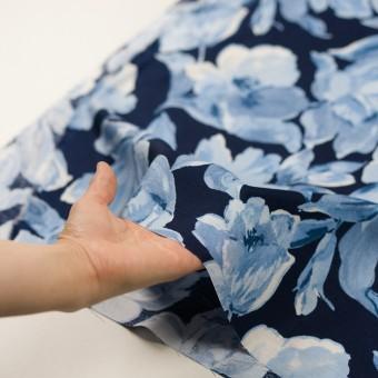 レーヨン&リネン×フラワー(ブルー&ネイビー)×薄キャンバス_全5色 サムネイル5