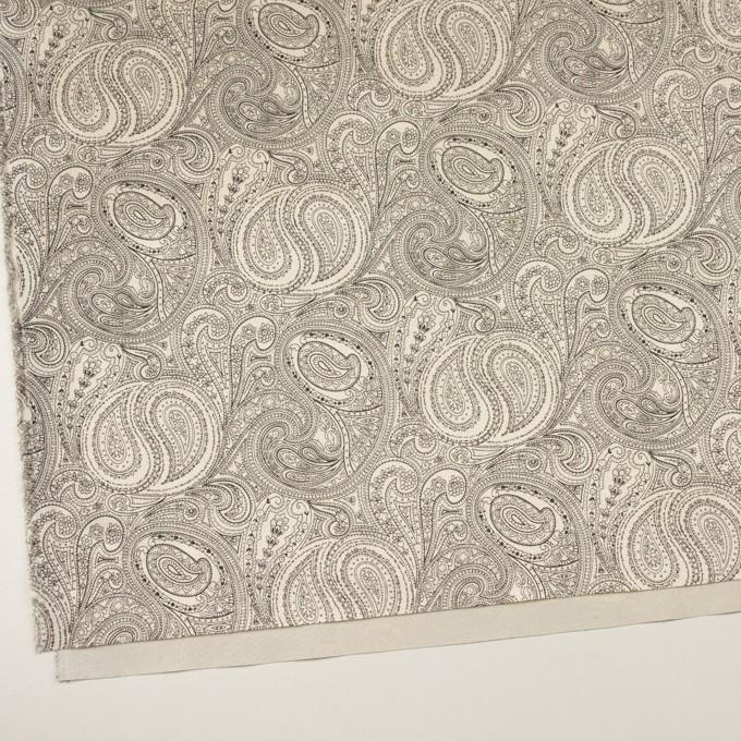 コットン&ポリウレタン×ペイズリー(エクリュ&ブラック)×サージストレッチ_イタリア製 イメージ2