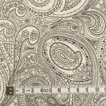 コットン&ポリウレタン×ペイズリー(エクリュ&ブラック)×サージストレッチ_イタリア製 サムネイル4