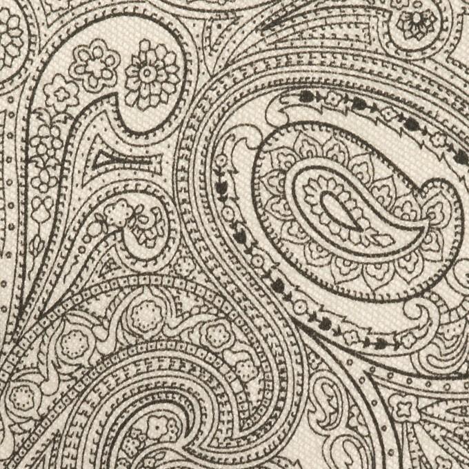 コットン&ポリウレタン×ペイズリー(エクリュ&ブラック)×サージストレッチ_イタリア製 イメージ1