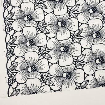 コットン×フラワー(ホワイト&ネイビー)×ピケ刺繍 サムネイル2