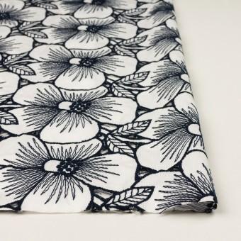 コットン×フラワー(ホワイト&ネイビー)×ピケ刺繍 サムネイル3