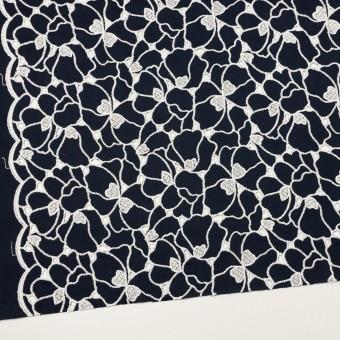 コットン×フラワー(ネイビー&ホワイト)×ピケ刺繍 サムネイル2