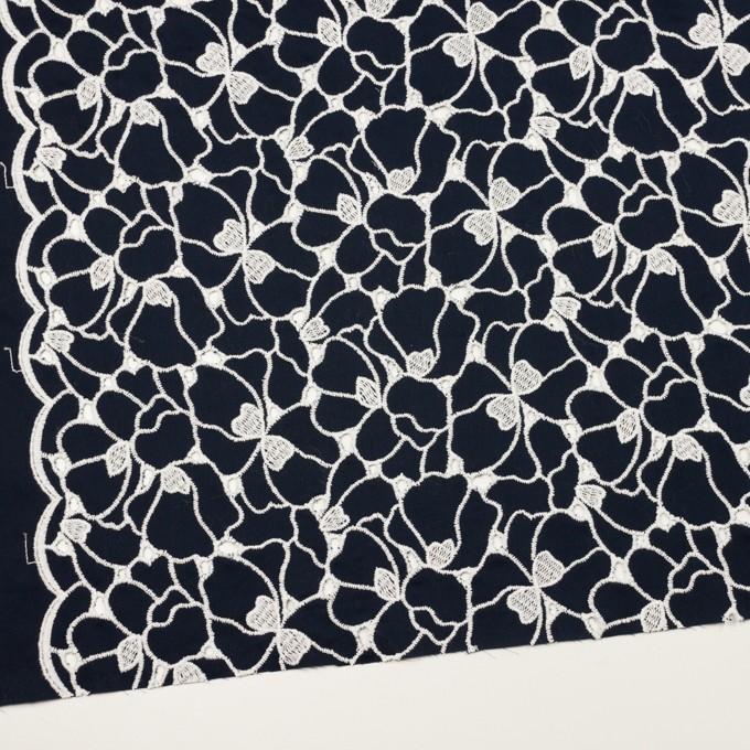 コットン×フラワー(ネイビー&ホワイト)×ピケ刺繍 イメージ2