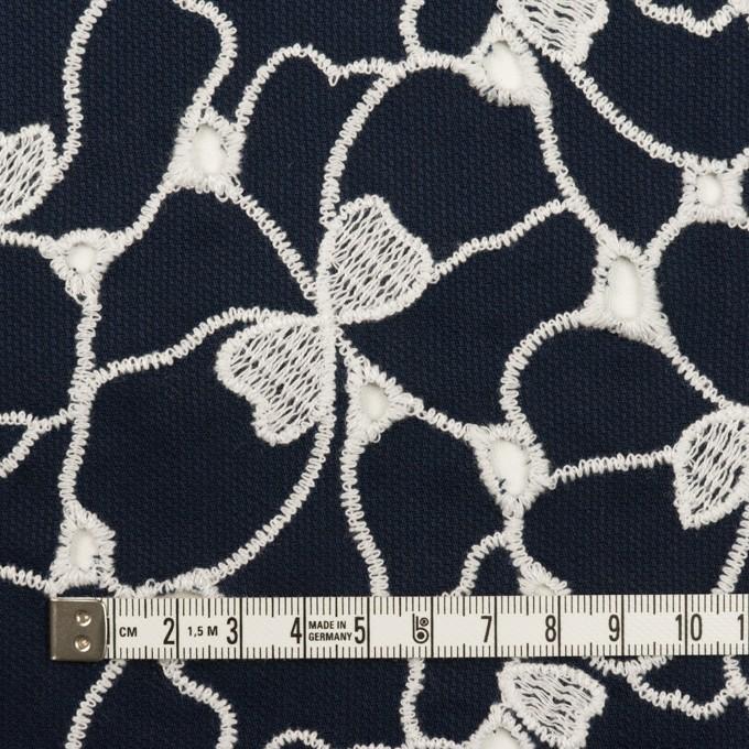 コットン×フラワー(ネイビー&ホワイト)×ピケ刺繍 イメージ4