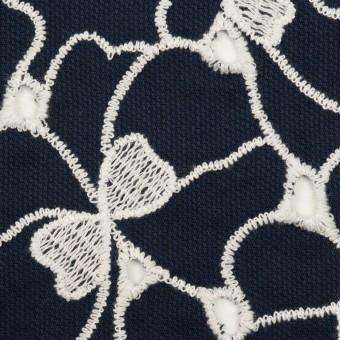 コットン×フラワー(ネイビー&ホワイト)×ピケ刺繍