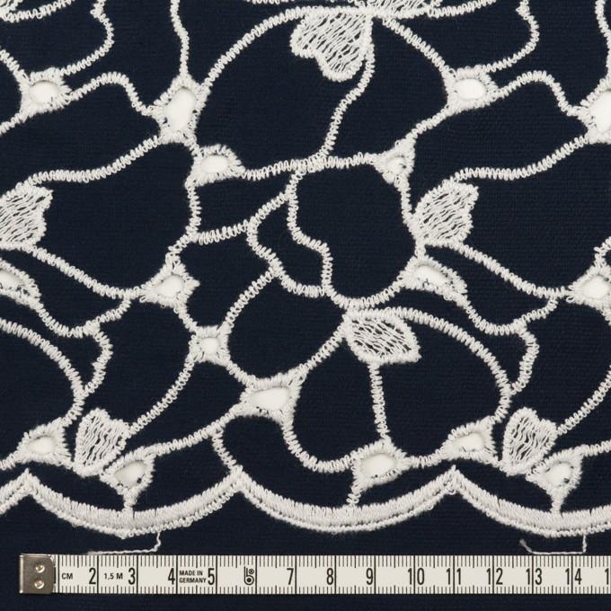 コットン×フラワー(ネイビー&ホワイト)×ピケ刺繍 イメージ6
