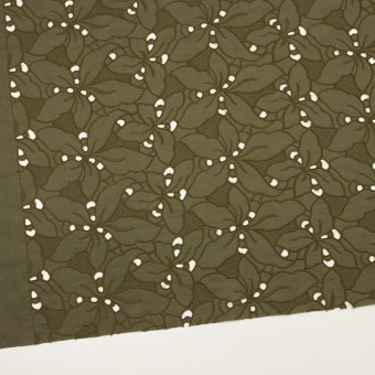 コットン×フラワー(カーキグリーン)×ローン刺繍_全2色 サムネイル2