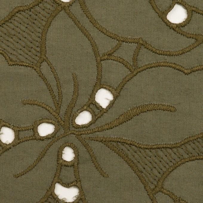 コットン×フラワー(カーキグリーン)×ローン刺繍_全2色 イメージ1