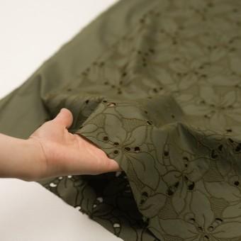 コットン×フラワー(カーキグリーン)×ローン刺繍_全2色 サムネイル5