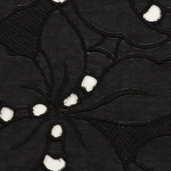 コットン×フラワー(ブラック)×ローン刺繍_全2色