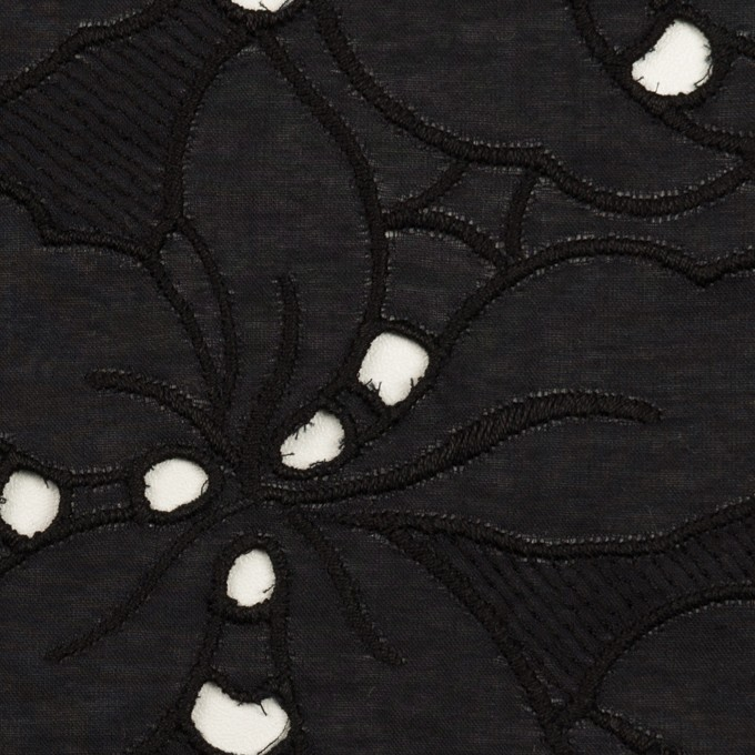 コットン×フラワー(ブラック)×ローン刺繍_全2色 イメージ1