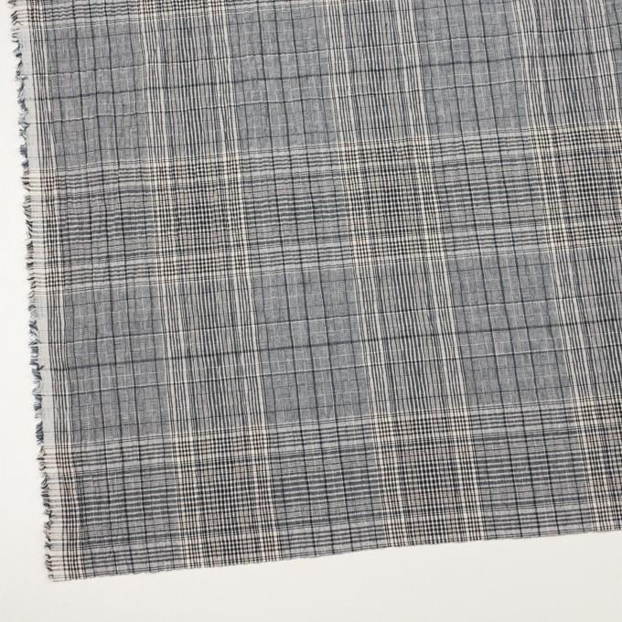 コットン&ポリウレタン×チェック(ブルーグレー)×シャーリング イメージ2