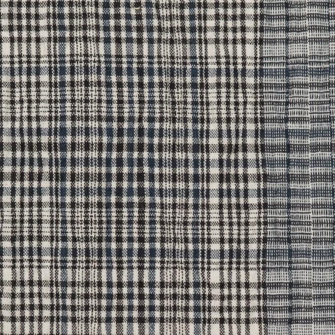 コットン&ポリウレタン×チェック(ブルーグレー)×シャーリング イメージ1