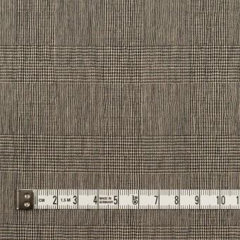 コットン&ポリウレタン×チェック(ベージュ&ブラック)×シャーリング サムネイル4