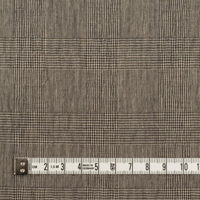 コットン&ポリウレタン×チェック(ベージュ&ブラック)×シャーリング イメージ4